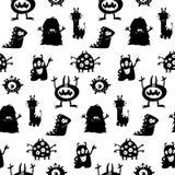Śliczny potwór sylwetek wzór Obrazy Stock