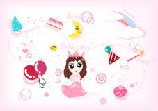 Śliczny princess opowieści kolekcji set, świętowanie, przyjęcie i holid, ilustracja wektor