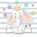 Śliczny princess słoń - postacie z kreskówki royalty ilustracja
