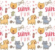 Śliczny psa, kota i myszy bezszwowy wzór, royalty ilustracja