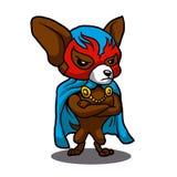 Śliczny psi chihuahua wojownik Lucha Libre ilustracja wektor