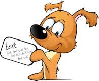 Śliczny psi zerkanie trzyma znaka z inskrypcją Zdjęcia Royalty Free