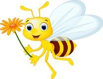 Śliczny pszczoły kreskówki latanie podczas gdy nieść kwitnie Obrazy Royalty Free