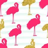 Śliczny Różowy flaminga wzór na akwareli obdzierał tło Fotografia Stock