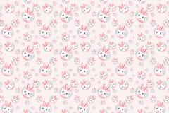 Śliczny różowy królik kreskówki wzór Obrazy Royalty Free