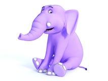 Śliczny różowy Toon dziecka słonia obsiadanie i ono uśmiecha się Zdjęcia Royalty Free