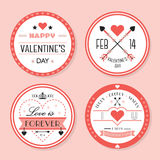 Śliczny różowy walentynki ` s dzień i romantyczne odznaki ustawiający Zdjęcia Royalty Free