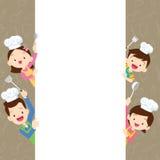 Śliczny rodzinny szczęśliwy kucharstwo z przestrzeni ramą Fotografia Stock