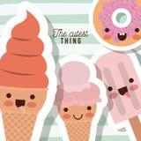 Śliczny rzecz plakat z karykatura lodami i pączka zbliżeniem z gęstym konturem i linii kolorowym tłem Zdjęcia Stock