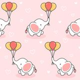 Śliczny słoń i balonu Bezszwowy Deseniowy tło royalty ilustracja