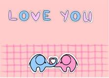 śliczny słoni miłości wektor ilustracji