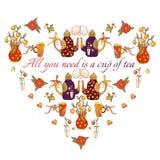 Śliczny serce od teapots, filiżanek, ptaków, motyli i kwiatów kreskówki, Obrazy Royalty Free
