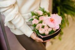 Śliczny sercowaty pudełko z czułą menchią kwitnie skład dla walentynki ` s dnia Obrazy Stock