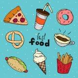 Śliczny set fast food ch?opiec kresk?wka zawodz?cy ilustracyjny ma?y wektor royalty ilustracja