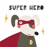 Śliczny super bohatera pies ilustracji