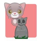 Śliczny szary kota ducha wydźwignięcie od grób Zdjęcia Royalty Free