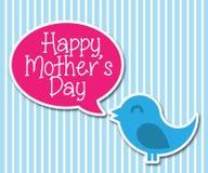 Śliczny Szczęśliwy ptak Mówi Szczęśliwego matka dzień Wektorowy samochód Zdjęcia Royalty Free