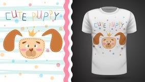 Śliczny szczeniak - pomysł dla druk koszulki ilustracji