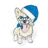 Śliczny szczeniak w Bożenarodzeniowym kapeluszu i okularach przeciwsłonecznych również zwrócić corel ilustracji wektora Nowego Ro royalty ilustracja
