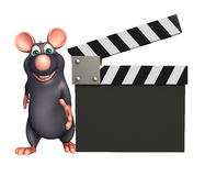 śliczny szczura postać z kreskówki z clapboard Zdjęcie Royalty Free