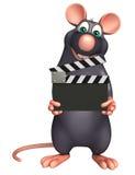 śliczny szczura postać z kreskówki z clapboard Obraz Royalty Free