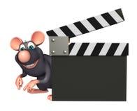 śliczny szczura postać z kreskówki z clapboard Obrazy Stock