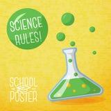 Śliczny szkolny plakat - kula ziemska, z mowa bąblem i royalty ilustracja
