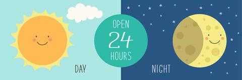 Śliczny sztandar dla dnia i noc robimy zakupy z ręki rysującymi uśmiechniętymi postać z kreskówki słońce i księżyc Obrazy Royalty Free