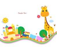 Śliczny tło, żyrafa ilustracja wektor