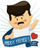 Śliczny tata Salutuje za faborkiem w ojca ` s dnia świętowaniu, Wektorowa ilustracja ilustracji