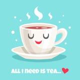 Śliczny teacup czarna herbata również zwrócić corel ilustracji wektora Obraz Stock
