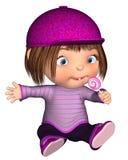Śliczny Toon dzieciaka obsiadanie z Różowym lizakiem Zdjęcia Royalty Free