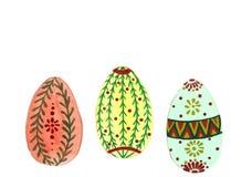 Śliczny trzy akwareli Wielkanocnego jajka royalty ilustracja