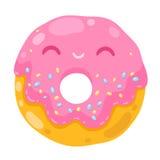 Śliczny uśmiechnięty pączek. kreskówki jedzenia ilustracja ilustracja wektor