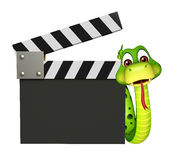 Śliczny węża postać z kreskówki z clapboard Obrazy Stock