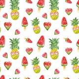 Śliczny watercolour lata wzór z świeżymi ananasowymi owoc, okulary przeciwsłoneczni, arbuzów posicles na białym tle ilustracja wektor