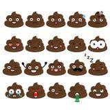Śliczny wektorowy kaku emoji set Turd emoticons, projektów elemets ilustracji
