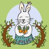 Śliczny wektorowy królik Kreskówki zając, królik z marchewką Zdjęcia Royalty Free