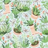 Śliczny wektorowy sezonowy bezszwowy wzór Rosnąć kwiaty i rośliny w szklarni Wiosny niekończący się ogrodowy tło ilustracja wektor