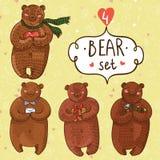 Śliczny wektorowy ustawiający z cztery niedźwiedziami w kreskówka stylu Zdjęcia Stock