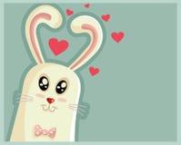 Śliczny Wielkanocny królik z serce Kształtnymi ucho Obraz Stock