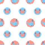 Śliczny wielorybów i krabów bezszwowy wzór ilustracji