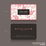 Śliczny wizytówka szablon z różowym kwiecistym deseniowym tłem Fotografia Royalty Free