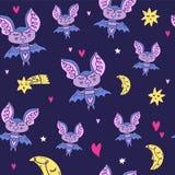 Śliczny wzór z nietoperzami, księżyc i gwiazdami, Dobranoc pepiniery temat Wektor, clipart i jpg, ilustracji