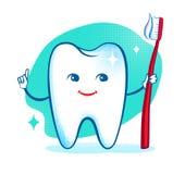 Śliczny zdrowy biały błyszczący zębu charakter Zdjęcia Stock
