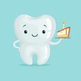 Śliczny zdrowy biały kreskówka zębu charakter z kawałkiem tort, children dentystyki pojęcia wektoru ilustracja ilustracja wektor