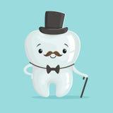Śliczny zdrowy biały kreskówka zębu dżentelmenu charakter jest ubranym czarnego odgórnego kapelusz, children dentystyki pojęcia w Obraz Royalty Free