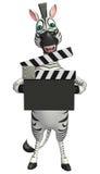 Śliczny zebry postać z kreskówki z clapboard Obrazy Royalty Free
