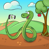 Śliczny zielony wąż robi selfie Zdjęcie Stock