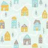 Śliczny zima opadu śniegu domów wzór Zdjęcie Stock
